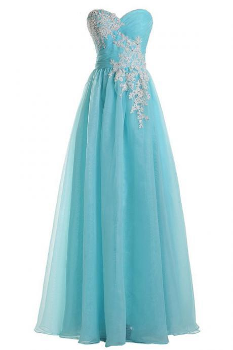 Prom Gown,Pretty Sweetheart A-line Floor Length Tulle Blue Prom Dress With Applique MT20180260