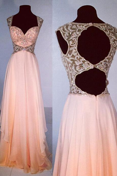 cheap prom dress,Exquisite V-neck A-line Floor Length Chiffon Peach Prom Dress Beading MT20180262
