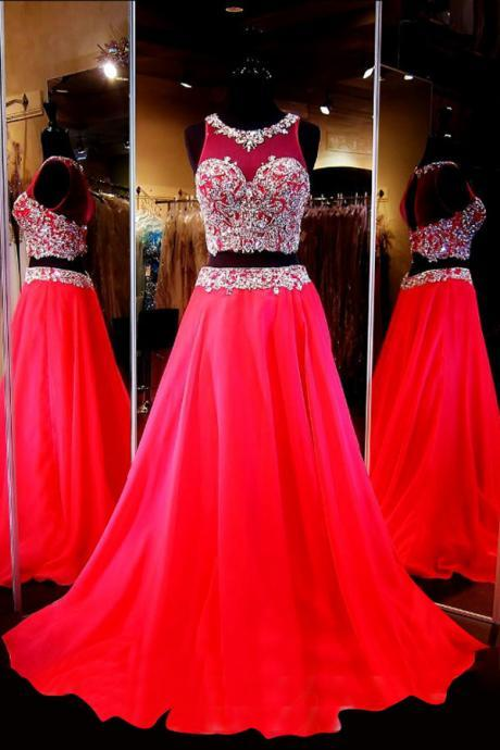 Generous Two-Piece Scoop Sleeveless Red Chiffon Sweep Train Prom Dress with Beading MT20180264