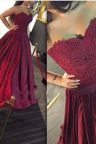 Maroon Long Prom Dress, Sweetheart A-line Lace Prom Dress,Formal Dress,Evening Dress, Ball Gown, Party Dress, Custom Made Prom Dresses MT20180266