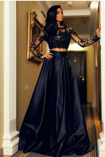 Fashion Black Lace Long Sleeve Prom Dresses, Two Piece Prom Dresses, Floor Length Formal Dresses, A Line Satin Long Evening Dress, Party Dresses, Prom Dress for Teens MT20180270