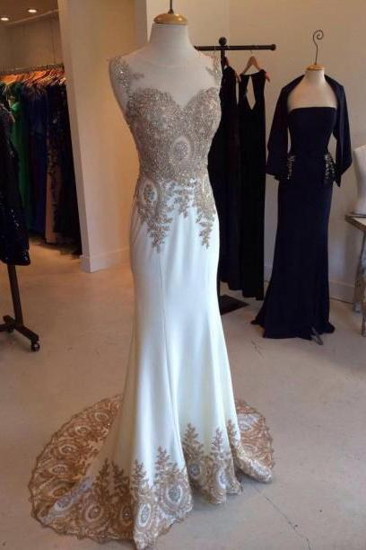 long white prom dress, charming applique Prom Dresses, 2018 formal Evening Gown, mermaid prom dress,charming evening gown MT20180274
