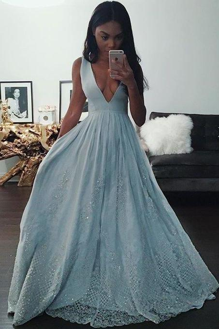 long blue prom dress, charming v-neck Prom Dresses, 2018 formal Evening Gown, new arrive prom dress,high quality evening gown MT20180276