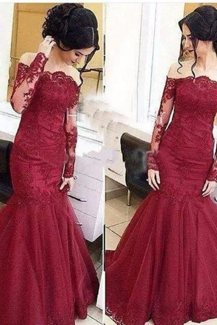 burgundy lace Prom Dress,High Quality Prom Dress,long mermaid Prom Dress,off shoulder Prom Gowns,charming Evening Dress,long sleeves prom Dress MT20180278