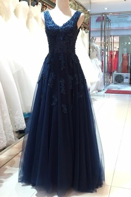 Elegant Navy Blue Tulle Backless Floor Length Prom Dresses, Party Gowns, Evening Dresses, Navy Blue Formal Dresses MT20180281