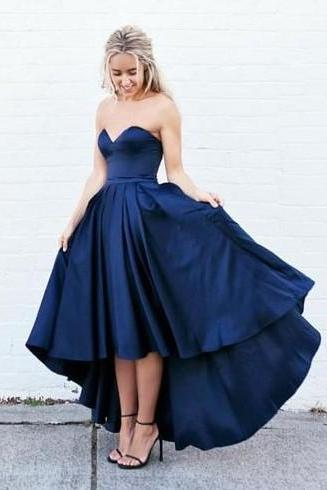 Sexy Hi-lo Dress for Prom, Navy Prom Dress,Sexy Prom Dress,High Low Prom Gowns,Sweetheart Prom Dress,Party Dress,Dress For Teens,Formal Dress,Charming Evening Dress MT20180282