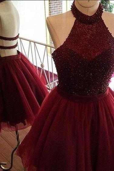 Sexy Red Short Prom Dress,Red Homecoming Dress, Burgundy A line Homecoming Dress,Beading Party Dress,Women Homecoming Dress,Charming Prom Homecoming Dress MT20180283