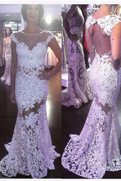 Sexy White Lace Prom Dresses,Open Back Prom Gowns,Mermaid Prom Dresses, High Neck Cap Sleeves Prom Gowns,Beautiful Women Dresses,Wedding Dresses,Backless Wedding Dress MT20180285