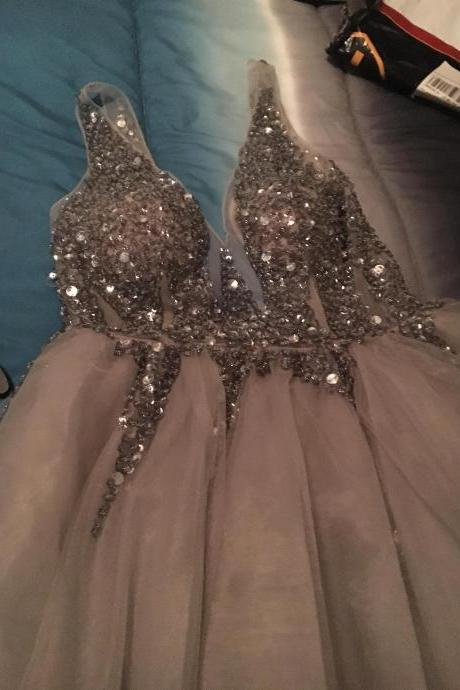 Prom Dress,Sequins Crystals Beaded Prom Dress, Tulle Prom Dress, Beautiful Prom Gowns,A line Evening Dress,Wedding Dress,Sexy See Through Party Dress MT20180287