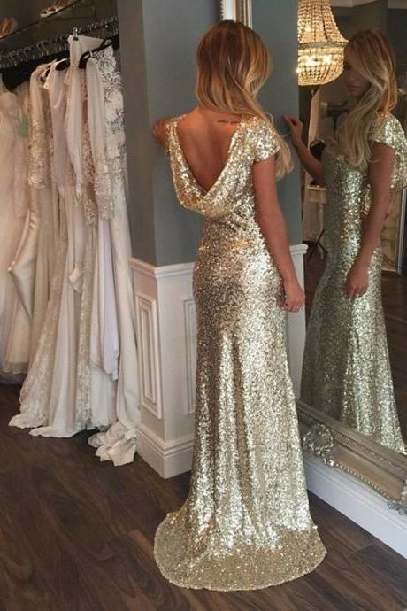 Luxurious Gold Sequins Cap Sleeves Long Prom Dress with Train, Gold Sequins Prom Dress,Bridesmaids Dress MT20180295