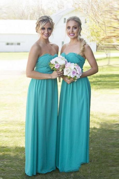 Blue Sweetheart Neckline A-Line Long Chiffon Bridesmaid Dress with Draped Detailing